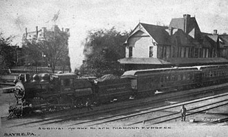 Waverly, Tioga County, New York - Image: Black Diamond Express at Sayre Pa. pre 1907