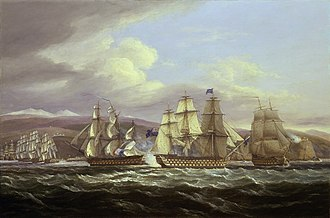 Blockade - An action during the British fleet's blockade of the French port of Toulon between 1810 and 1814, depicted by Thomas Luny