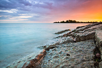 Sunset at Woodbine Beach after a rainstorm. Th...