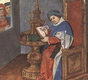Medieval French literature - Miniature from a manuscript of the Roman de la Rose (Oxford, Bodleian Library, Douce 195), folio 1r, portrait of Guillaume de Lorris.