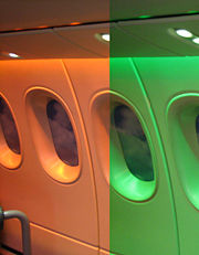 The Dreamliner cabin is equipped with LED lighting and electronic window shades.