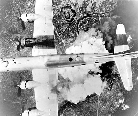A B-29 over Osaka on June 1, 1945 Boeing B-29A-45-BN Superfortress 44-61784 6 BG 24 BS - Incendiary Journey.jpg
