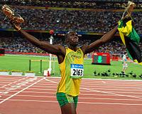Usain Bolt na letných olympijských hrách 2008 v Pekingu po víťaznom behu na 100 m