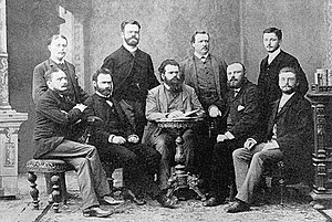 Ludwig Boltzmann - Ludwig Boltzmann and co-workers in Graz, 1887. (standing, from the left) Nernst, Streintz, Arrhenius, Hiecke, (sitting, from the left) Aulinger, Ettingshausen, Boltzmann, Klemenčič, Hausmanninger