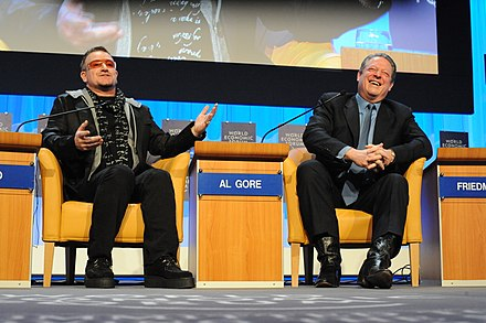 Rock star Bono with former U.S. Vice President Al Gore at the World Economic Forum in 2008. Bono and Al Gore 2008 2.jpg