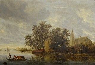 Bord de rivière avec une église