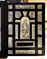 Bottega forse lombarda, stipo in legno di pero ebanizzato e intarsiato d'avorio, xvii secolo con restauri del XIX, 02 anta esterna.JPG