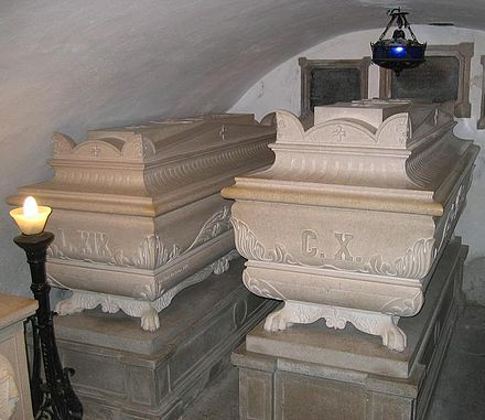 Tombs of Charles X and his son Louis at the Kostanjevica Monastery in the Slovenian town of Nova Gorica Bourbonska grobnica NG6.jpg