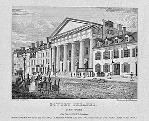 Bowery Theatre - Bowery Theatre of 1828, from Bourne  Views  of  New  York (1830-31)