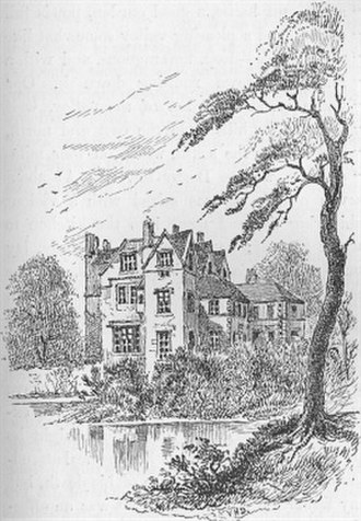 Breadsall Priory - A line drawing of Breadsall Priory, by Francis S. Darwin's daughter Violetta H. Darwin (1826–1880)