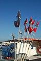 Breege (Rügen) - Fischerhafen - Markierungsfahnen auf einem Fischerboot (11946702136).jpg