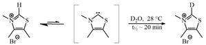 Persistent carbene - Deuterium exchange of the C2-proton of thiazolium salt
