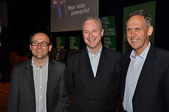 Bob Brown - Adam Bandt, Brian Walters and Brown during the campaign for the Victorian state election, 2010