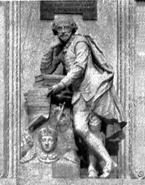 Statue of William Shakespeare, Leicester Square - Image: Britannica Shakespeare Scheemakers Statue