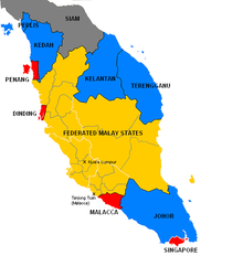 A political map showing the individual states of Malaya