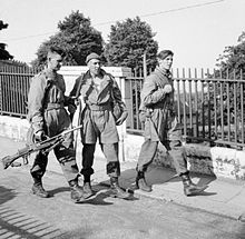 Three men carrying weapons walking along a railing lined footpath