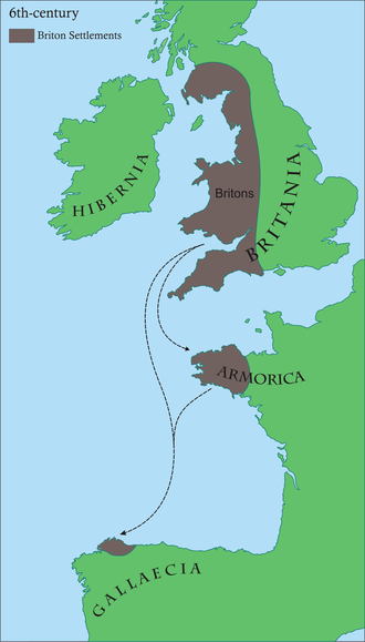 Armorica - Map of Briton settlements in the 6th-century, including what became Brittany and Britonia (in Spain).