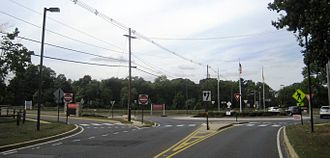 Brookdale Community College - Main entrance to the campus from the Route 520 roundabout