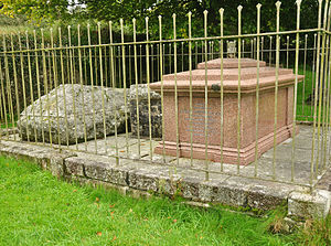 James Brooke - The red granite chest tomb to James Brooke in Sheepstor churchyard