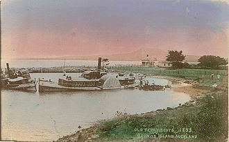 Browns Island (New Zealand) - Abandoned paddle steamers and picnickers at Brown's Island in a 1908 postcard.