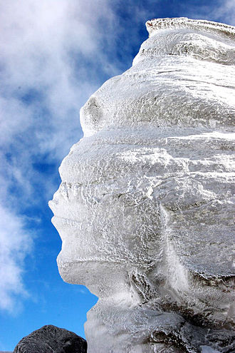 Geography of Romania - Romanian Sphinx situated on the plateau of Bucegi Mountains at 2,216 m. altitude, measures 8 meters in height and 12 meters in width