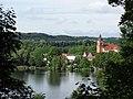 Buckow (Märkische Schweiz) Ferdinandshöhe Blick auf Buckower See mit Stadtpfarrkirche.JPG