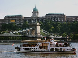 Széchenyi Chain Bridge - Image: Budapest Castle with ship