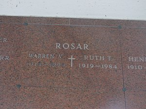 Buddy Rosar - The gravesite of Buddy Rosar in Cheektowaga, New York