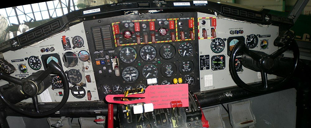 Cropped cockpit of Buffalo Airways Canadair CL-215