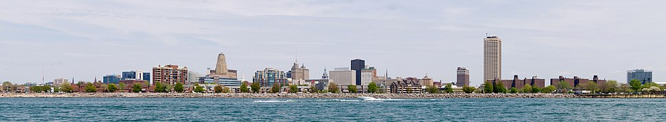 Skyline of Buffalo, looking east from Lake Erie