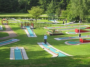 Outline of golf - Miniature golf course in Bulltoftaparken in Malmö, Sweden