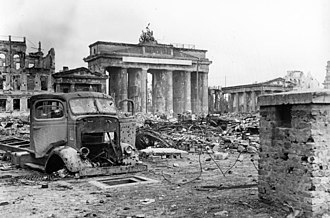 Battle of Berlin - The Brandenburg Gate amid the ruins of Berlin, June 1945