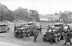 BA-10 - Soviet officers and BA-10s in Lublin, Poland, 1939