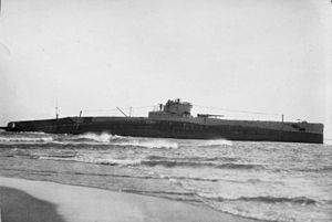 USS S-19 (SS-124) - A photograph of the stranded S-19 off Chatham, Massachusetts in January 1925.