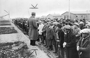 Esterwegen concentration camp - Rudolf Diels of the Prussian Ministry of the Interior addressing inmates in KZ Esterwegen, 1933
