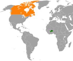Map indicating locations of Burkina Faso and Canada