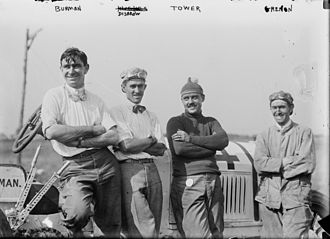 1911 Indianapolis 500 - Bob Burman, Louis Disbrow, Jack Tower, and Joe Grennon at the 1911 Indianapolis 500