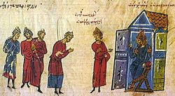 Medieval miniature of people standing before a seated ruler within a stylized edifice
