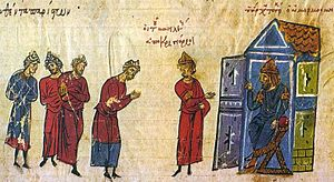 Sack of Amorium - Miniature from the Madrid Skylitzes depicting the embassy of the tourmarches Basil to al-Mu'tasim (seated) after the fall of Amorium.