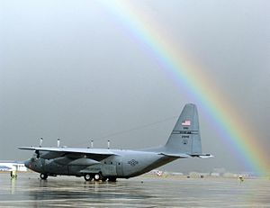 124th Fighter Wing - 189th Airlift Squadron C-130E 62-1846 on the flight line at Gowen Field, 4 March 2004.