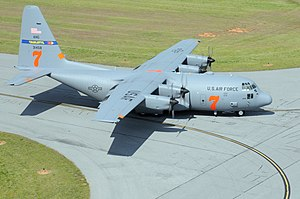 156th Airlift Squadron - Lockheed C-130H Hercules (s/n 93-1458) from the 156th Airlift Squadron, 145th Airlift Wing, North Carolina Air National Guard, training for use of the Modular Airborne Fire Fighting System (MAFFS).