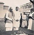 C. Rajagopalachari with V. A. Sundaram at the Gandhi Memorial stone, Varanasi 1948.jpg
