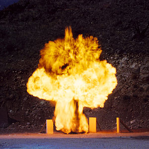 C-4 (explosive) - A detonation within a blast-resistant trash receptacle using a large C-4 explosive charge.
