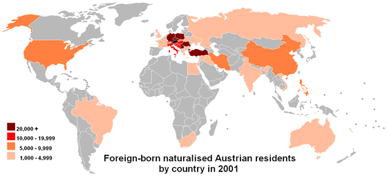 The birthplaces of foreign-born naturalised residents of Austria