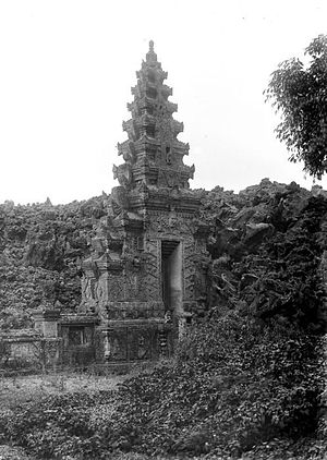 Pura Ulun Danu Batur - Lava at the kori agung (gate) of the original complex (circa 1920)