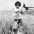 COLLECTIE TROPENMUSEUM Meisje met een gedroogde vis in haar hand in een gedeeltelijk gewied veld in Kandar TMnr 20000118.jpg