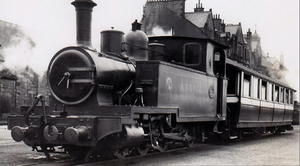 Campbeltown and Machrihanish Light Railway - Argyll with a passenger car of the light railway