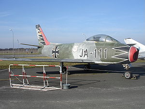 "Erich Hartmann - German Air Force Canadair Sabre in the Hartmann ""black tulip"" color scheme at the Bundeswehr Museum of Military History"