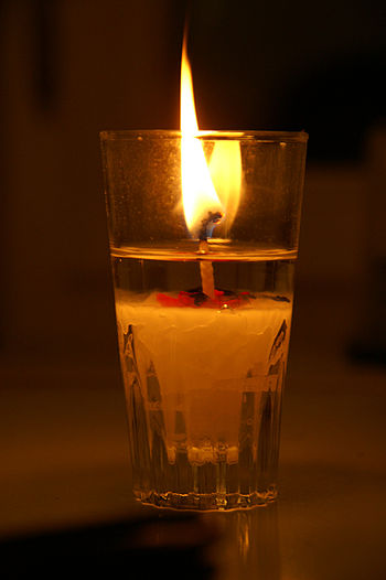 candle, candle in glass