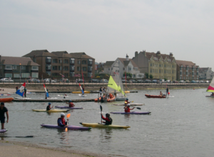 Canoeing on West Kirby Marine Lake - 2003-07-15.png